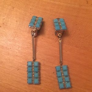 Jewelry - Vintage Turquoise & Gold Costume Clip-on Earrings